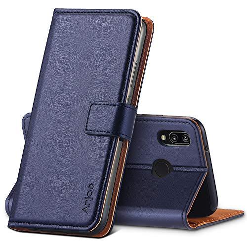 Anjoo Cover Compatibile per Huawei P20 Lite, Custodia Flip Premium Protettiva Portafoglio PU Pelle Cover Compatibile con Huawei P20 Lite - Blu