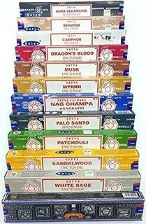 Lot d'encens Satya PREMIUM - 12 paquets - 144 bâtonnets à brûler (Aura Cleansing, Benjoin, Camphre, Sang de Dragon, Musc, ...