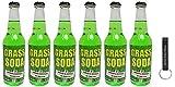 Rocket Fizz Grass Soda Pop 12 oz (Pack of 6) Bundle with PrimeTime Direct Keychain Bottle Opener in a PTD Box
