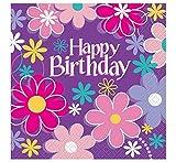 Unique Party Birthday Blossom - Tovaglioli di carta per compleanno, confezione da 16, motivo: fiori