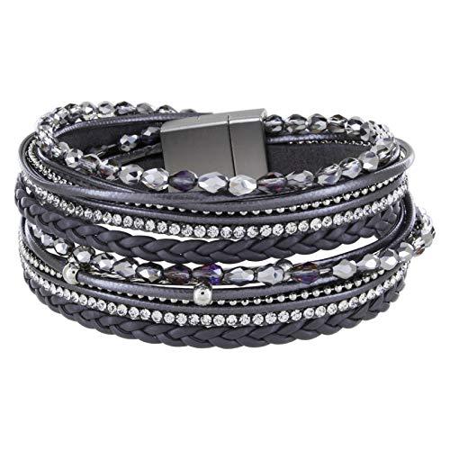 StarAppeal Armband Wickelarmband mit Perlen, Strass, Ketten und Flechtelement, Magnetverschluss Silber Matt, Damen Armband (Grau)