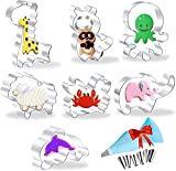 Animal Cookie Cutters Set - Fondant/Pastry/Bread/Sandwich/Biscuit Cutter Molds for Kids -7 Pieces- Crab, Dolphin, Octopus, Raccoon, Giraffe, Elephant, Sheep Shaped Cutter - Stainless Steel