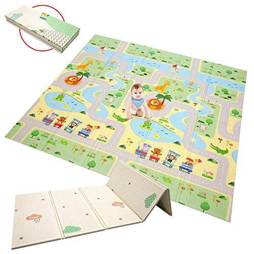 KGK Baby Play Mat Large Waterproof Play Mat for Toddlers Foldable Crawling Mat for Baby Double Sided Cartoon Pattern Baby Mats for Playing Portable Non Toxic High Flexibility-78.7 x 70.9 x 0.4 inch