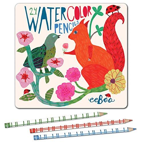 eeBoo Watercolor Colored Pencils, in Squirrel Tin Case, Set of 24