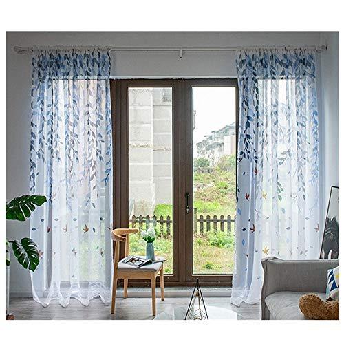 XLGX Rideau Lavable Drapé Panneau Sheer Scarf Valances Design Transparent Mode Simple Coeur imprimé Tulle Porte Fenêtre 100x200cm (Bleu)