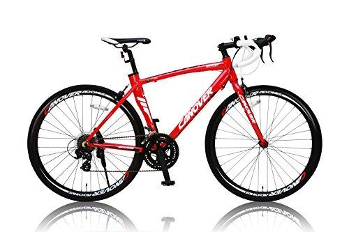 カノーバー ロードバイク アルミフレーム シマノ14段変速ADOONIS(アドニス) デュアルコントロールレバー採用 LEDライト標準装備 重量11.7Kg レッド 700×23C