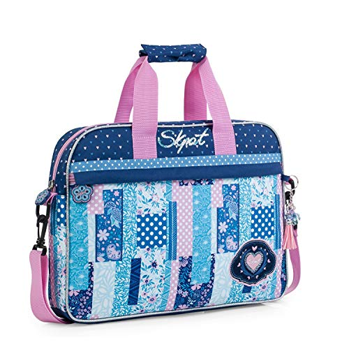 SKPAT - Cartera Infantil niña Estampada. maletín extraescolar. Capacidad para blocs libretas Libros y portátil. tamaño a4. cómodo y Calidad y diseño. 130006, Color Azul