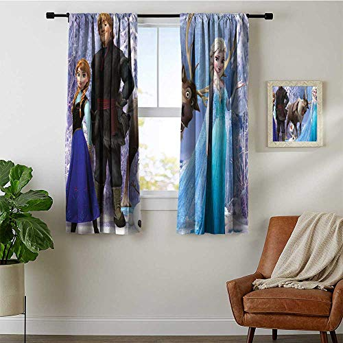 Room Darkening Blackout Window Curtains 63x72 inch Frozen Movie 2 Waterproof Fabric,(Double Pieces)
