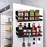 Magnetic Spice Rack Organizer with 4 Removable Hooks & 6 Magnetic Clips, LADER Single Tier Refrigerator Spice Storage Shelf for Hold Spices, Olive Oil, Cooking Oils, Salt, Pepper(2 Pack) (Black)