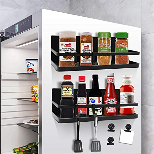 Magnetic Spice Rack Organizer with 4 Removable Hooks amp 6 Magnetic Clips LADER Single Tier Refrigerator Spice Storage Shelf for Hold Spices Olive Oil Cooking Oils Salt Pepper Small Thing2 Pack