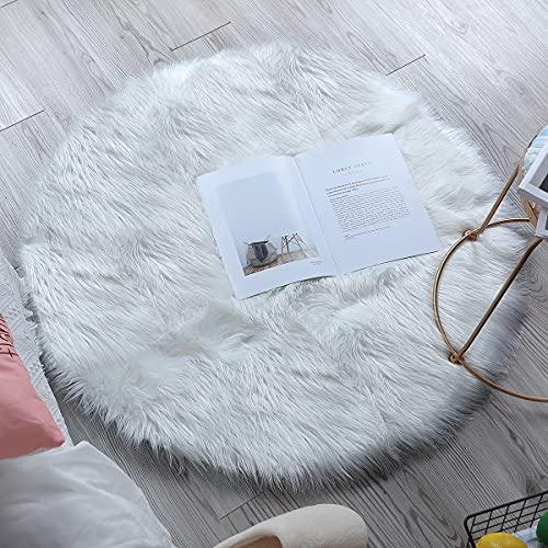 Tapis en Fausse Fourrure |ZCZUOX Carpette Moelleuse Chambre à Coucher, Salon, Crèche | Décoratif Coussin de Chaise Canapé Natte (Blanc, 90x90cm)