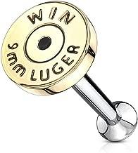 Amelia Fashion 16 Gauge Bullet Back Casing Internally Threaded Monroe/Labret Stud 316L Surgical Steel (Choose Length)
