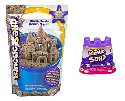 Kinetic Sand - 3lb - Kinetic Beach Sand by Spin Master - Wacky-Tivities | BONUS 5 oz. Neon Sand Assorted |