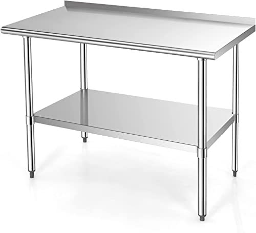 discount Giantex 48x24 high quality Inches Stainless Steel Table with Backsplash, NSF Metal Commercial Kitchen lowest Table for Prep & Work with Adjustable Undershelf, Heavy-Duty Prep Table outlet sale