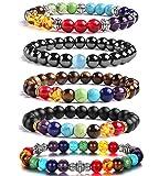 J.Fée 7 Chakras Bracelet Extensible de Pierre Gemme 5 Pack Bijoux Set Huile Diffuseur Bracelet Perlé Cristal Bracelet Yoga...