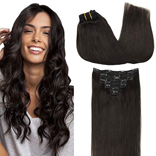 GOO GOO Clip in Hair Extensions Human Hair Dark Brown 18 Inch 120g 7pcs Remy Hair Extensions Clip in Real Hair Straight Thick Weft