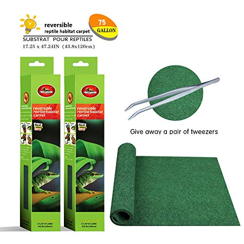 Mclanzoo 75 Gallon Reptile Carpet,Pet Terrarium Liner,Reptiles Cage Mat/Substratefor Snakes, Chameleons, Geckos ands Kitchen Use(2sheets) with Tweezers Feeding Tongs (17.25x 47.24in)