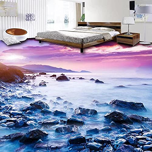 Papel pintado autoadhesivo para suelo 3D, baldosas de piedra con paisaje costero, Mural para suelo, baño, cocina, PVC, autoadhesivo, impermeable, pegatina-300 * 210cm