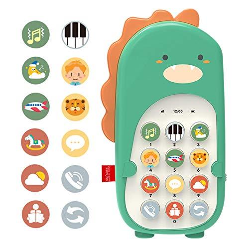 HUANRU Juguete de teléfono para el aprendizaje y juego, móvil de doble cara, música y volumen ajustable, juega y aprende para niños y niños pequeños a partir de 18 meses.