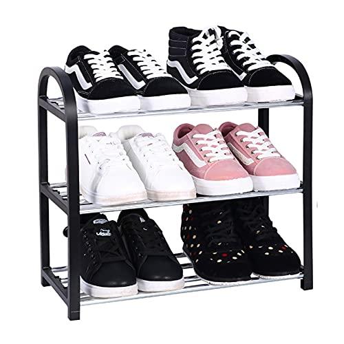 ALWWL Sistema de Zapatos, Zapatos metálicos Estante de Almacenamiento, Soporte de Zapato de Montaje rápido Negro para Pasillo Baño Sala de Estar Dormitorio Corredor- 3 Tier Small