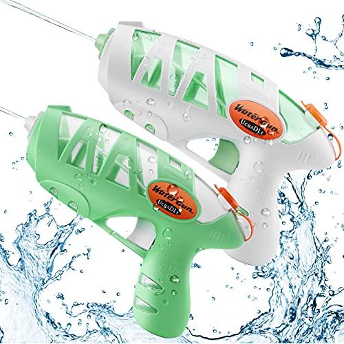 Ucradle Wasserpistole Spielzeug für Kinder, 2pcs Kleine Wasserpistolen Spritzpistole Wasser Water Gun Cool Pool Spielzeug Kinder, Party Strand Badespielzeug Strandspielzeug, Grün und Weiß