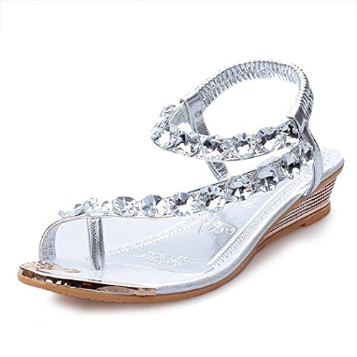 Damen Sommer Sandalen Strass Wohnungen Plattform Keile Schuhe Flip Flops Strandschuhe Zehentrenner (37, Silver)
