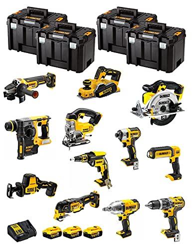 DeWALT Kit DWK1202T (DCD796 + DCH273 + DCG405 + DCF887 + DCF889H + DCS331 + DCS391 + DCS355 + DCP580 + DCS369 + DCL050 + DCF620 + 3 Baterías de 5,0 Ah + Cargador + 4 x TSTAK VI)