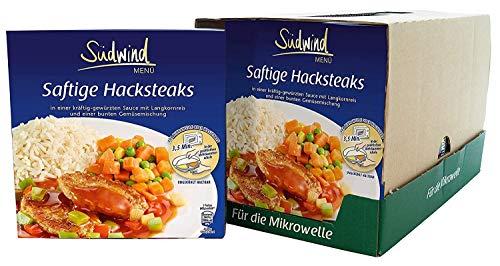 Saftige Hacksteaks in würziger Sauce mit Langkornreis und feiner Gemüsemischung – 7er Pack (7 x 460g) - Fertiggerichte für die Mikrowelle / Wasserbad - Südwind Lebensmittel