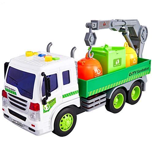 HERSITY Camión de Basura Coches de Friccion Vehiculos de Juguete con Luces y Sonidos y Bote de Basura Regalo para Niño Niña 3 4 5 6 Años