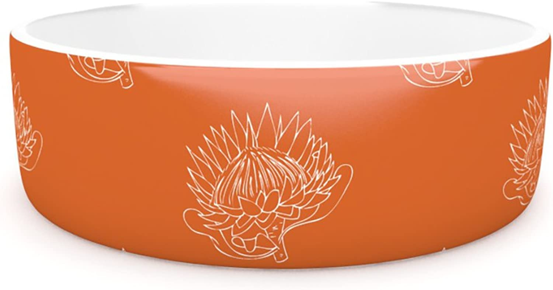 Kess InHouse Anneline Sophia Simpley Predea  Pet Bowl, 7Inch, orange