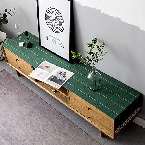 Modern And Simple Green Plaid Table Runner, Tv Cabinet Cloth Dustproof Cover Cloth, Coffee Table Cloth Side Cabinet, Shoe Cabinet, Rectangular Table Runner 30x240cm