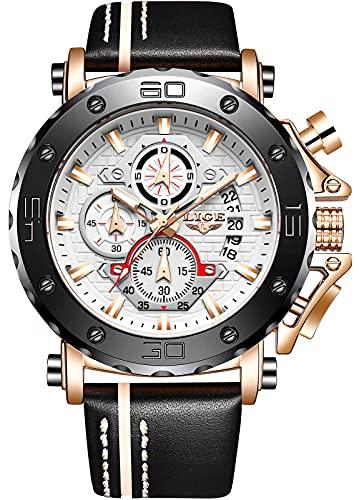Orologio da uomo LIGE Cronografo analogico al quarzo, alla moda, sportivo, impermeabile, in acciaio inox, multifunzione, con quadrante in pelle, colore oro rosa, bianco, elegante orologio da uomo
