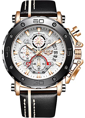 LIGE Men Watches Fashion Chronograph 47mm Watches Waterproof Casual Business White Watches...
