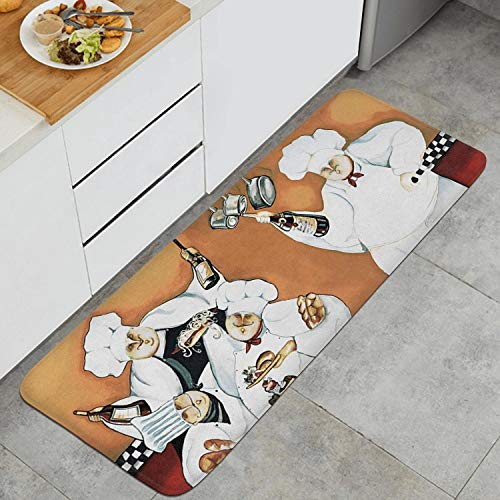 Websi Wihey Fat Chefs American Rustic Style Kitchen Mat Microfiber PVC Back Non-Slip Soft Area Rug for Kitchen 47.2 X 17.7 in