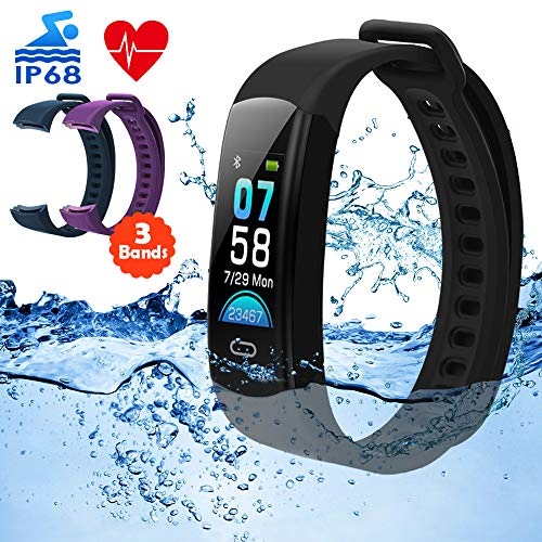 DETUOSI Fitness Tracker HR IP68 Waterproof Activity Tracker with Heart Rate Monitor Color Screen Smart Watch with Sleep Monitor Calorie Counter Step Counter Pedometer for Women Men Kids[3 Bands]