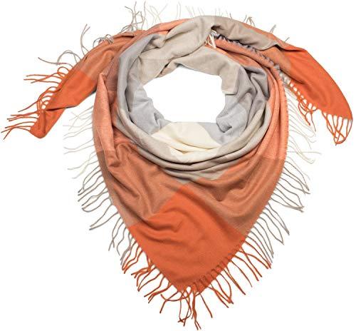 styleBREAKER Damen XXL Dreiecksschal mit Karo Muster und Fransen, Winter Schal 01017116, Farbe:Orange-Grau-Beige