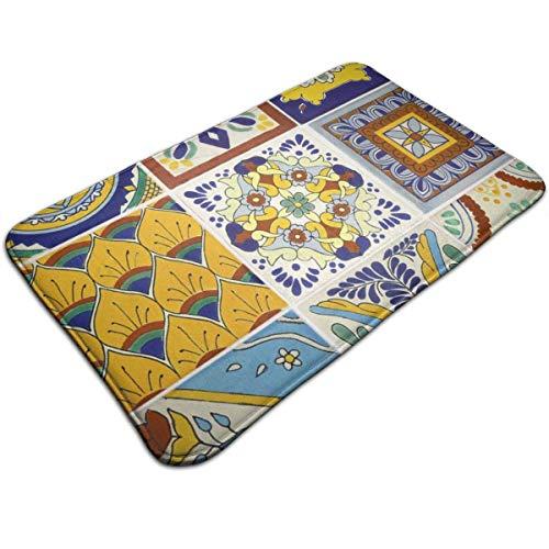 N/A Gekleurde tegels, drukdeurmat, badmat, ingangmat, vloermat, tapijt voor binnen en buiten, rubber antislip