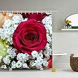 Tenda da doccia con Bouquet di Fiori di Rosa Rossa, tenda da bagno, tenda da bagno