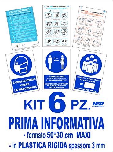 APA 6 Cartelli Maxi covid segnaletica Dim. 30 * 50 cm da Interno/Esterno da ESPORRE al PUBBLICO nel vs Esercizio Commerciale NEP
