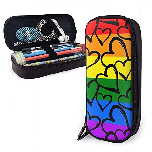 Mini-Federmäppchen, Stifteetui, Stiftebox, Reißverschluss-Set, PU-Leder, Reißverschluss für Mädchen, Jungen, Männer, Frauen, Zubehör, Gay Pride, Regenbogen-Herzen, handgeraute Tinte