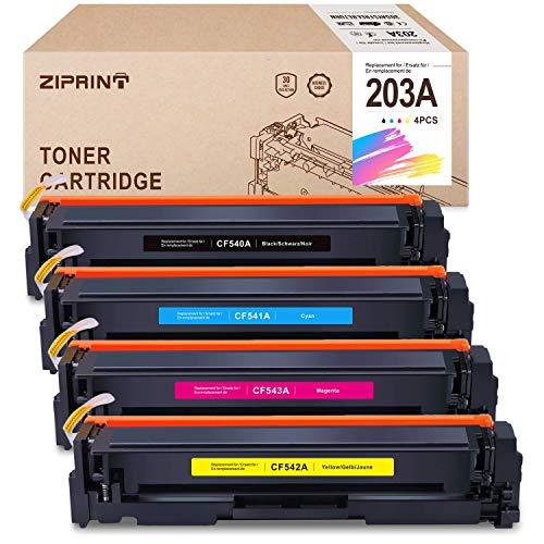 ZIPRINT 4 multipack Compatibile HP 203A HP CF540A CF541A CF542A CF543A Toner per HP Color LaserJet M254dw, M254nw, LaserJet M281Fdn, M281fdw, LaserJet M280nw