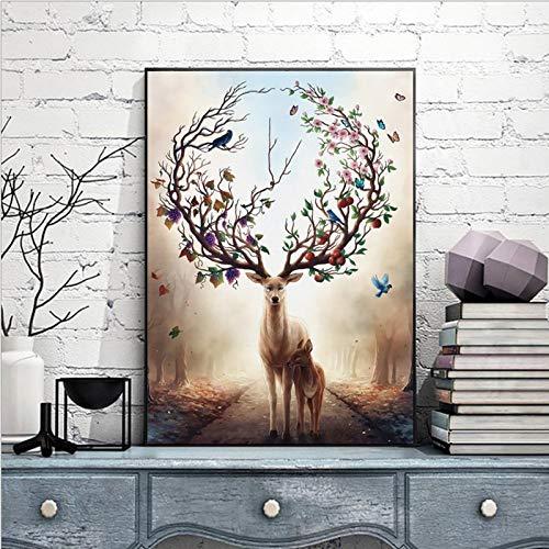 fdgdfgd Carteles e Impresiones de Animales de Alce auspicioso nórdico murales Arte Lienzo Carteles murales de Sala de Estar decoración del hogar