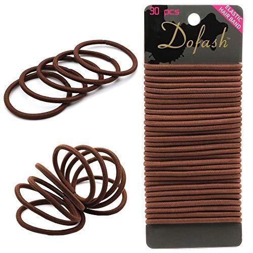 Dofash 30Stk Haar Elastische Haargummis Pferdeschwanz Halter Haarband Haarbänder Elastisch Stirnband für Dickes und Lockiges Haarschmuck für Damen Mädchen 4cmx4mm(Braun)