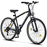 Licorne Bike - Bici da trekking, 28 pollici, per ragazzi, ragazze, donne e uomini, cambio Shimano a 21 marce – Life M-V, Bambina, nero/grigio, 28 inches