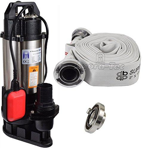Agora-Tec® AT- Baupumpe-550W Tauchpumpe für Schmutzwasser, Fäkalien und organische Feststoffe mit Schwimmerschalter und max: 1,1 bar und max: 14500l/h inklusive C - STORZ Kupplung und (C-Schlauch: 10 Meter)