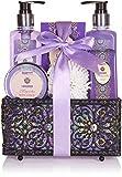 BRUBAKER Set da bagno e doccia Lavenda & Magnolia - Set regalo 7 pezzi in un cesto decorativo