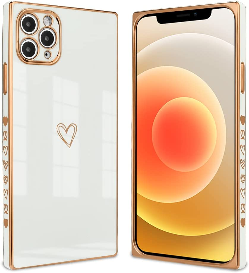 Ownest Compatible with iPhone 11 Pro Max Case,Cute Square Love Heart Pattern Design Electroplate Edge Bumper Shockproof Full Camera Lens Protective Cases for iPhone 11 Pro Max-White