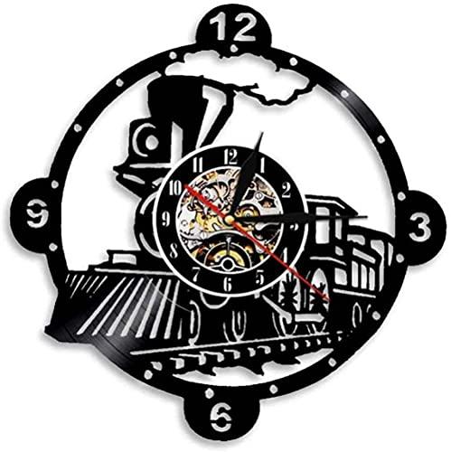 Locomotora de vapor, reloj de pared decorativo vintage de vinilo reloj locomotora tren montado en la pared relojes decoración del hogar relojes sin LED