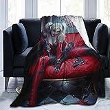 Net Method Clown Girl Harley Quinn Flannel Blanket Super Soft and Comfortable Fuzzy Luxury Warm Plush Microfiber Blanket Suitable for Bed Sofa Travel Four Seasons Blanket -50'' x40
