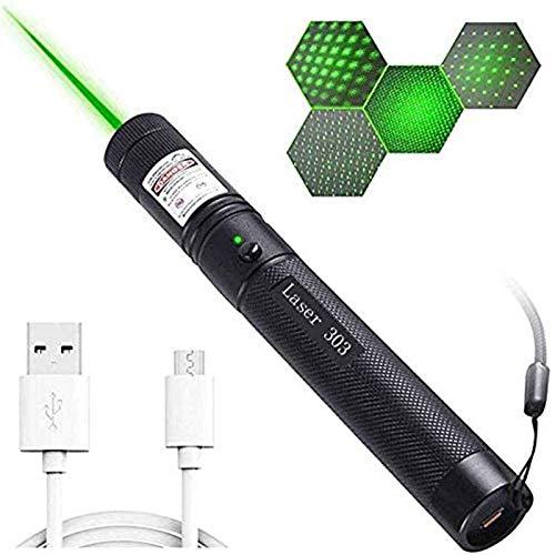 JLYH Professionelle Super Bright Outdoor-Taschenlampe, High-Power Tragbare Multifunktionale USB Grün LED-Taschenlampe, Mini-Handleuchtstift mit Einstellbarem Fokus für Camping Wandern Radfahren